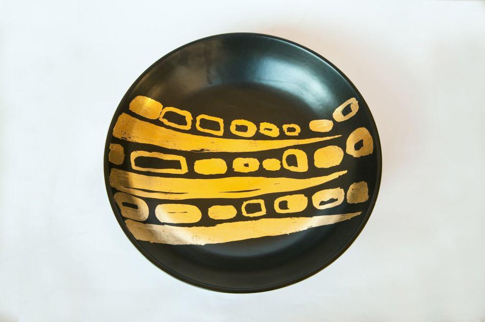 """23b """"Bamboo""""- 2017, diametro ciotola 50 cm, foglia oro su ceramica smaltata"""